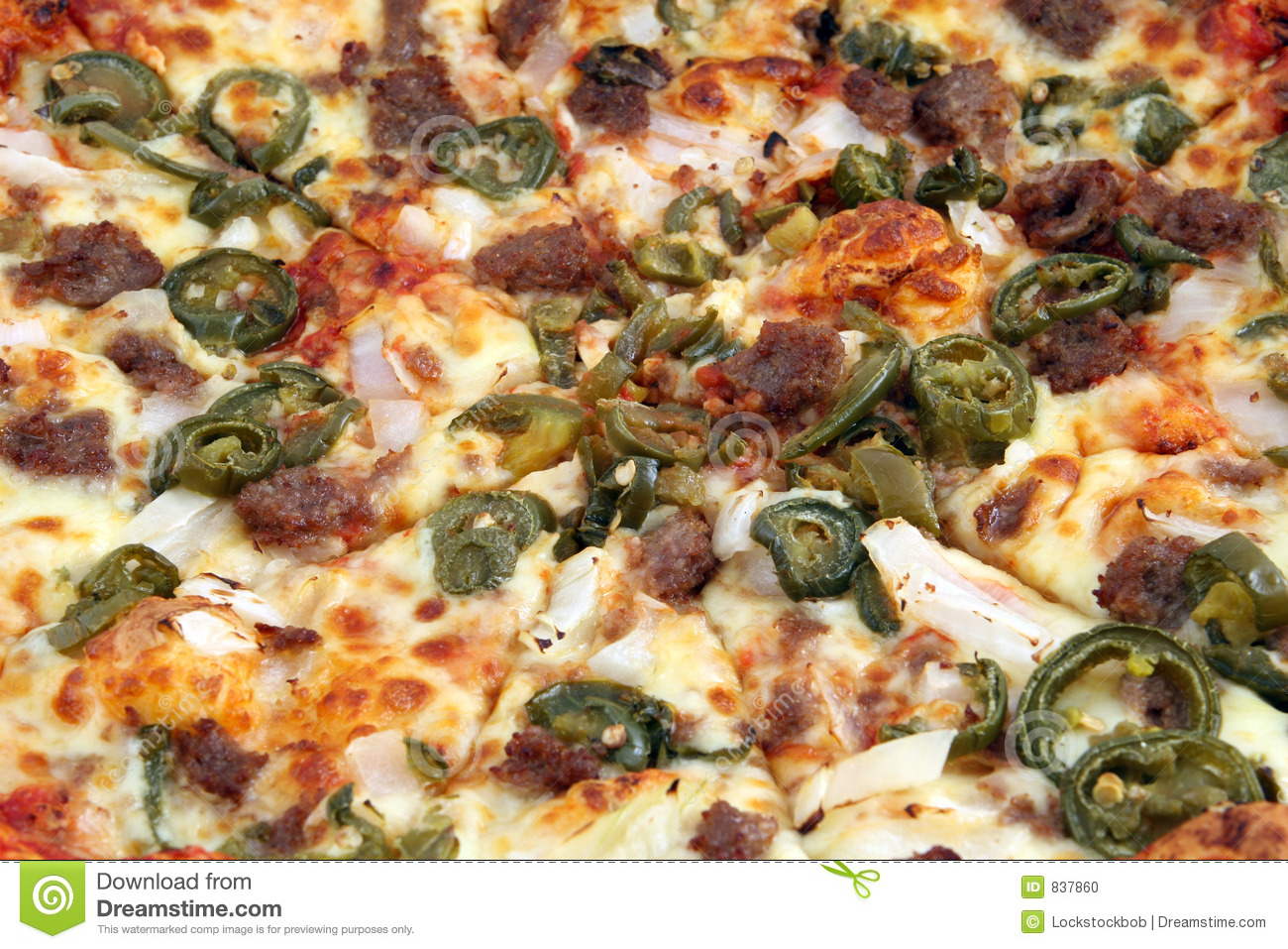 Traditional hot and spicy italian meat pizza