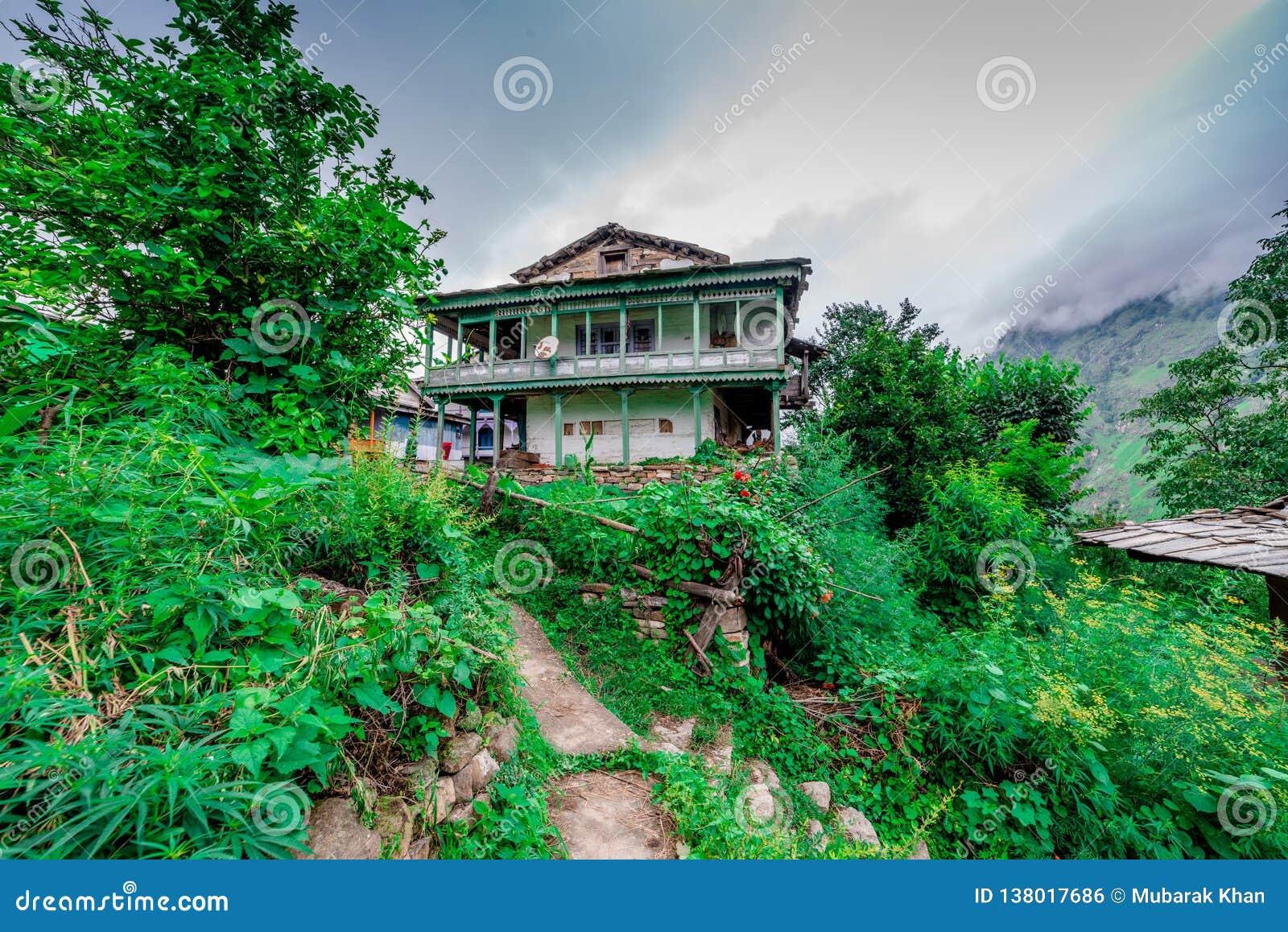 A traditional house in himalayas, sainj valley, kullu, himachal pradesh, india