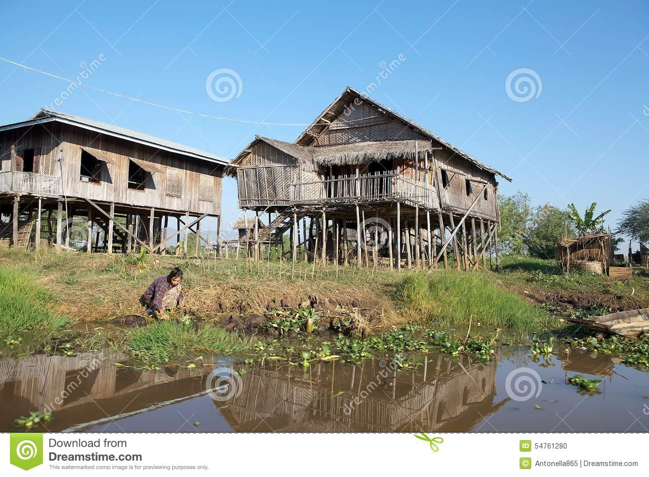 Traditional House On The Inle Lake Editorial Image Image