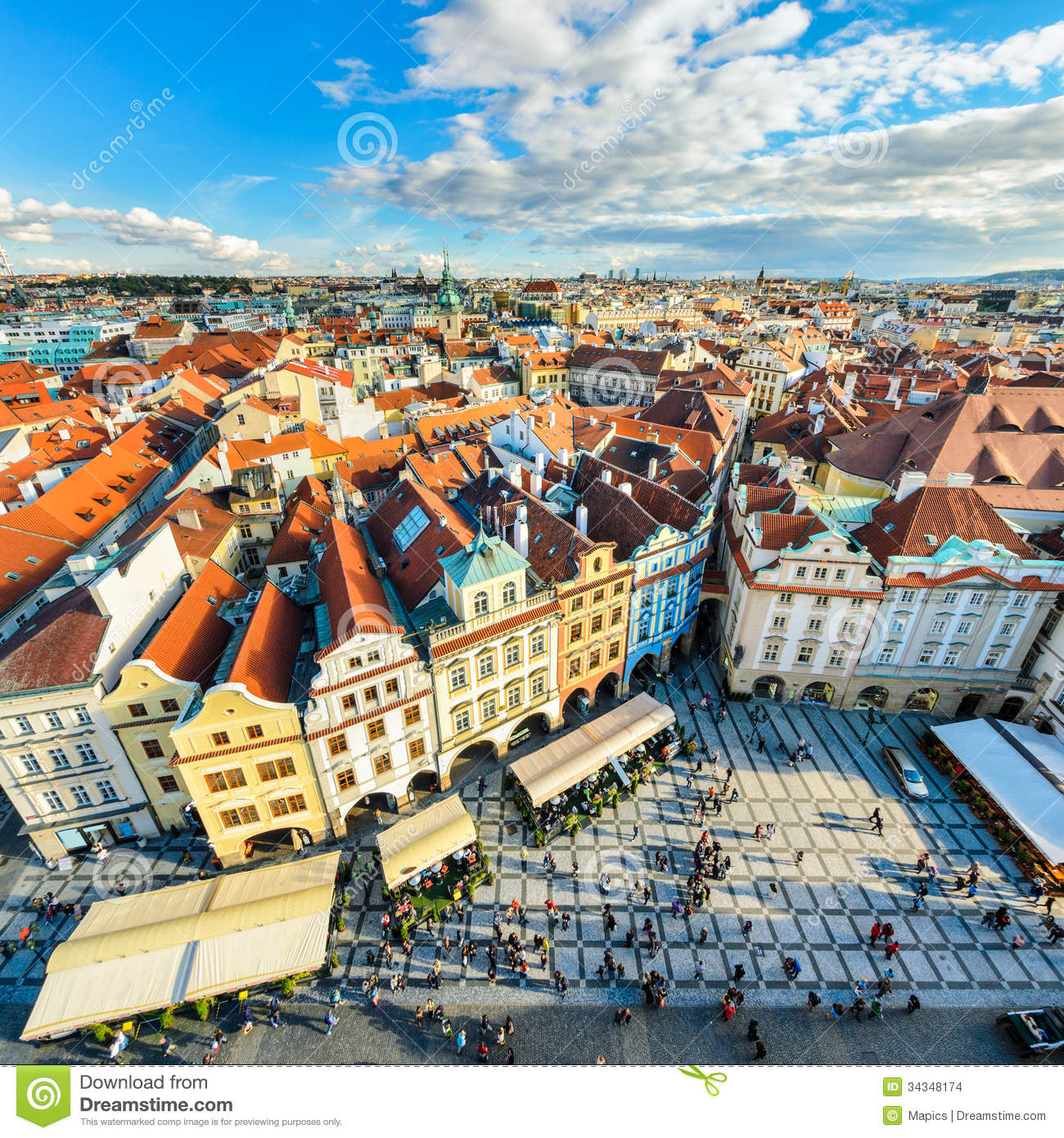 Traditional House Roofs In Prague Czech Republic Stock