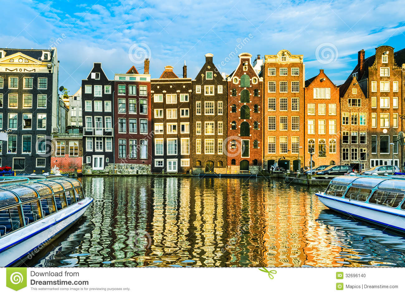 Traditional Houses Of Amsterdam Netherlands Stock Photo