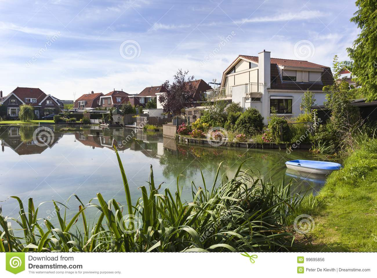 Traditional houses around a pond in the Netherlands