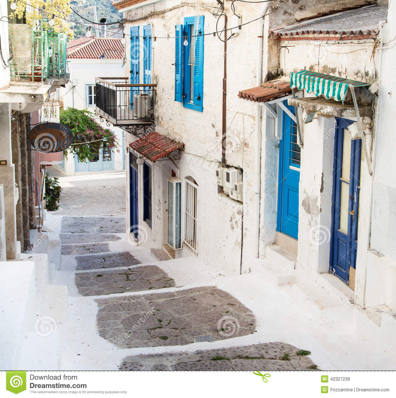 Traditional Greek Houses traditional houses on the greek islands in blue colors. stock