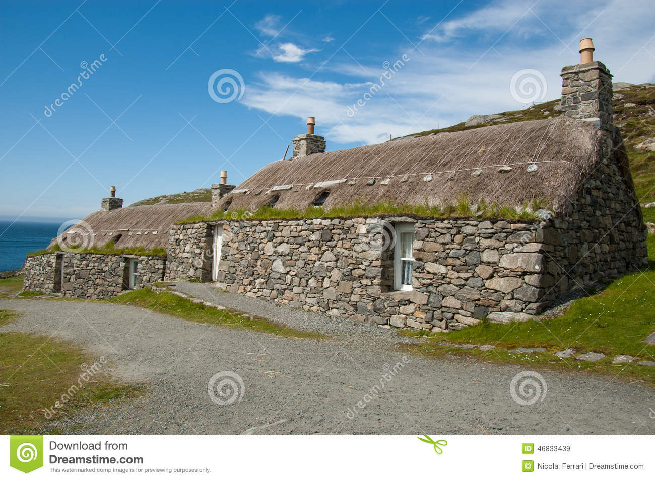 Traditional Houses In An Highland Scottish Village