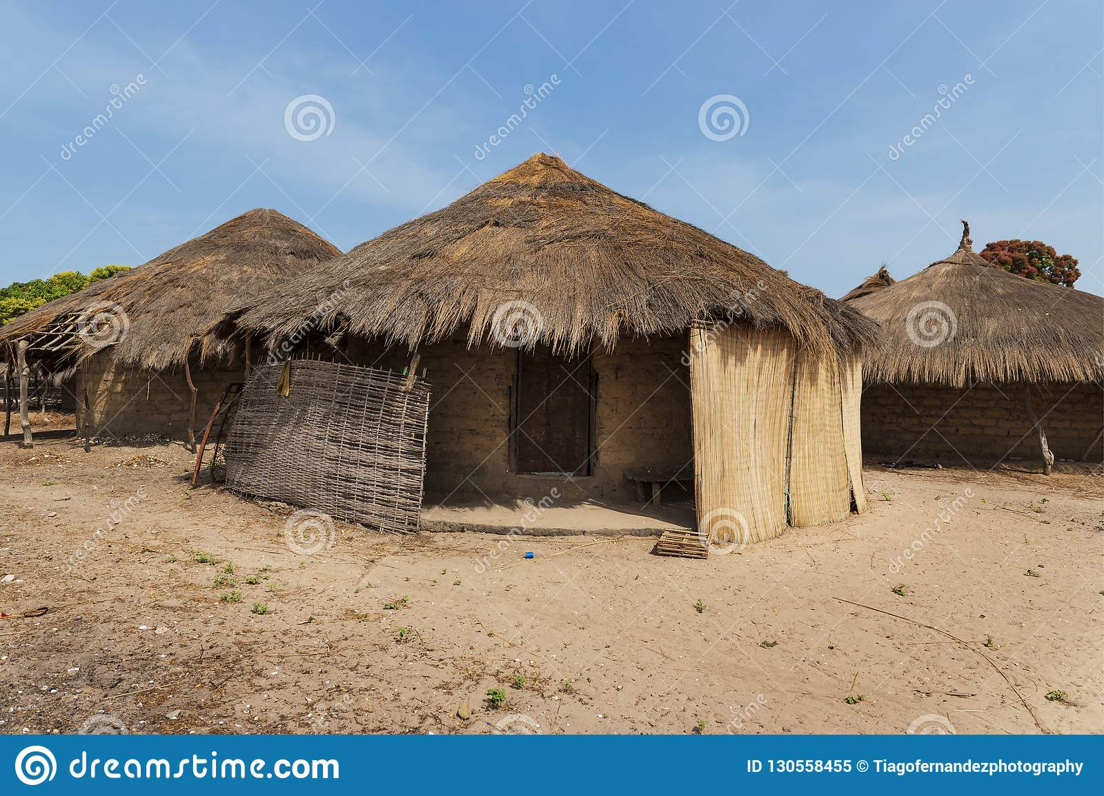 Traditional houses huts in the village of Eticoga in the island of Orango, Guinea Bissau