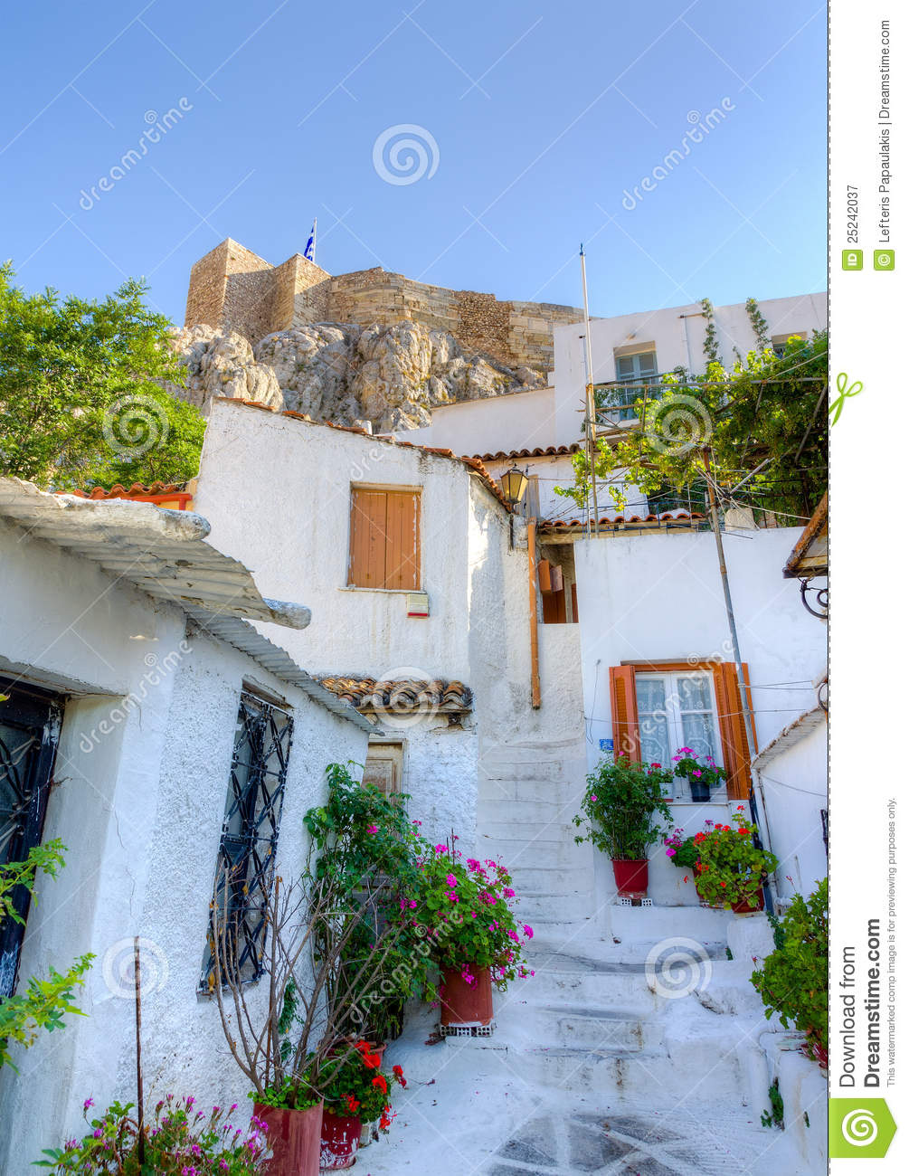 Traditional Houses At Plaka, Athens, Greece Royalty Free ...