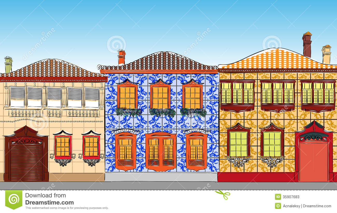Adobe Homes Plans Traditional Houses In Portugal Stock Vector Image 35907683