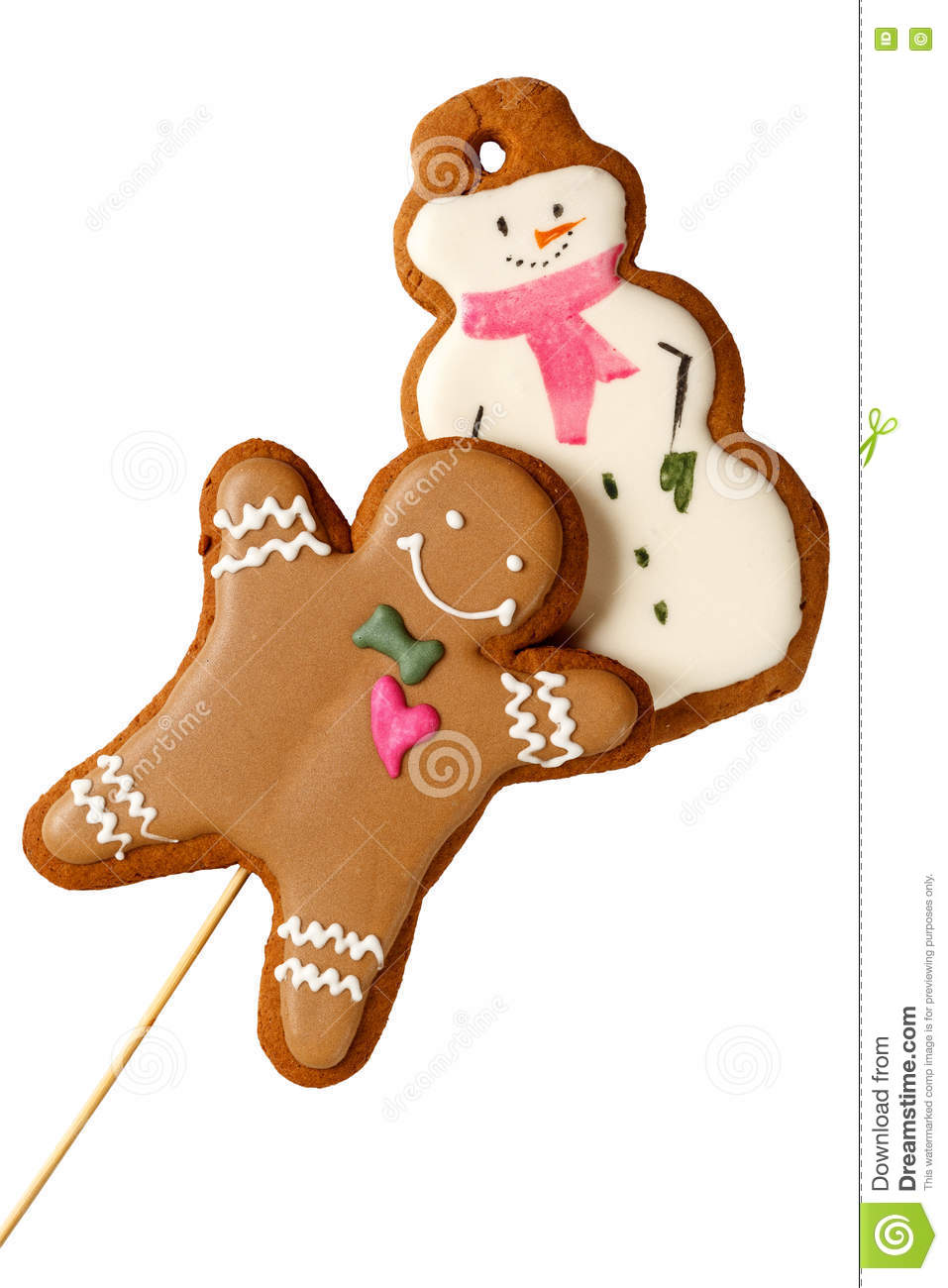 Traditional Iced Gingerbread Christmas Cookies Man with Snowmen Isolated
