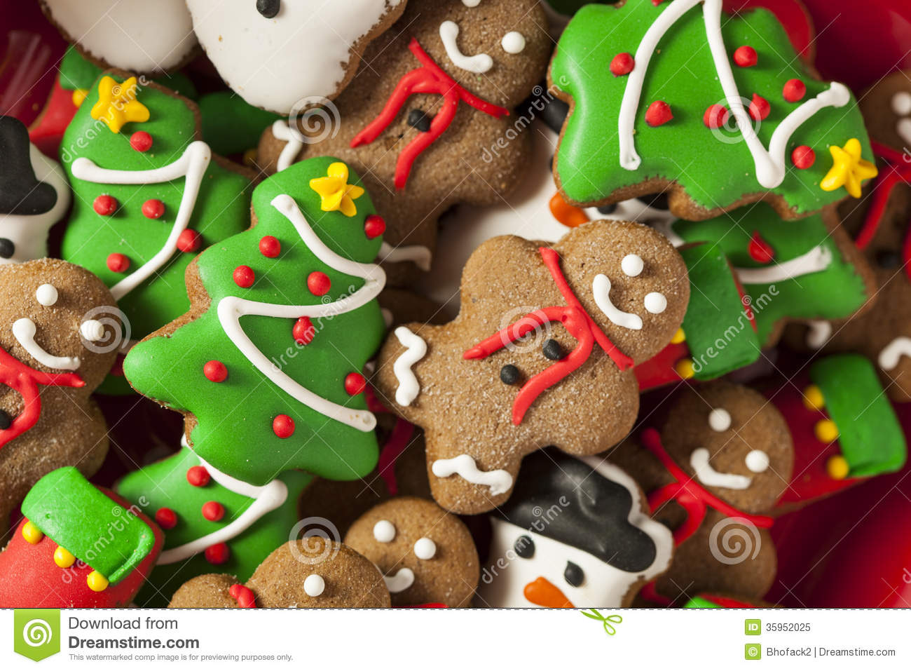 Traditional Iced Gingerbread Christmas Cookies Stock Image Image