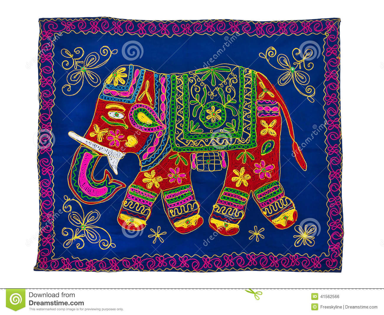 Traditional Indian Embroidery Pattern Elephant Stock