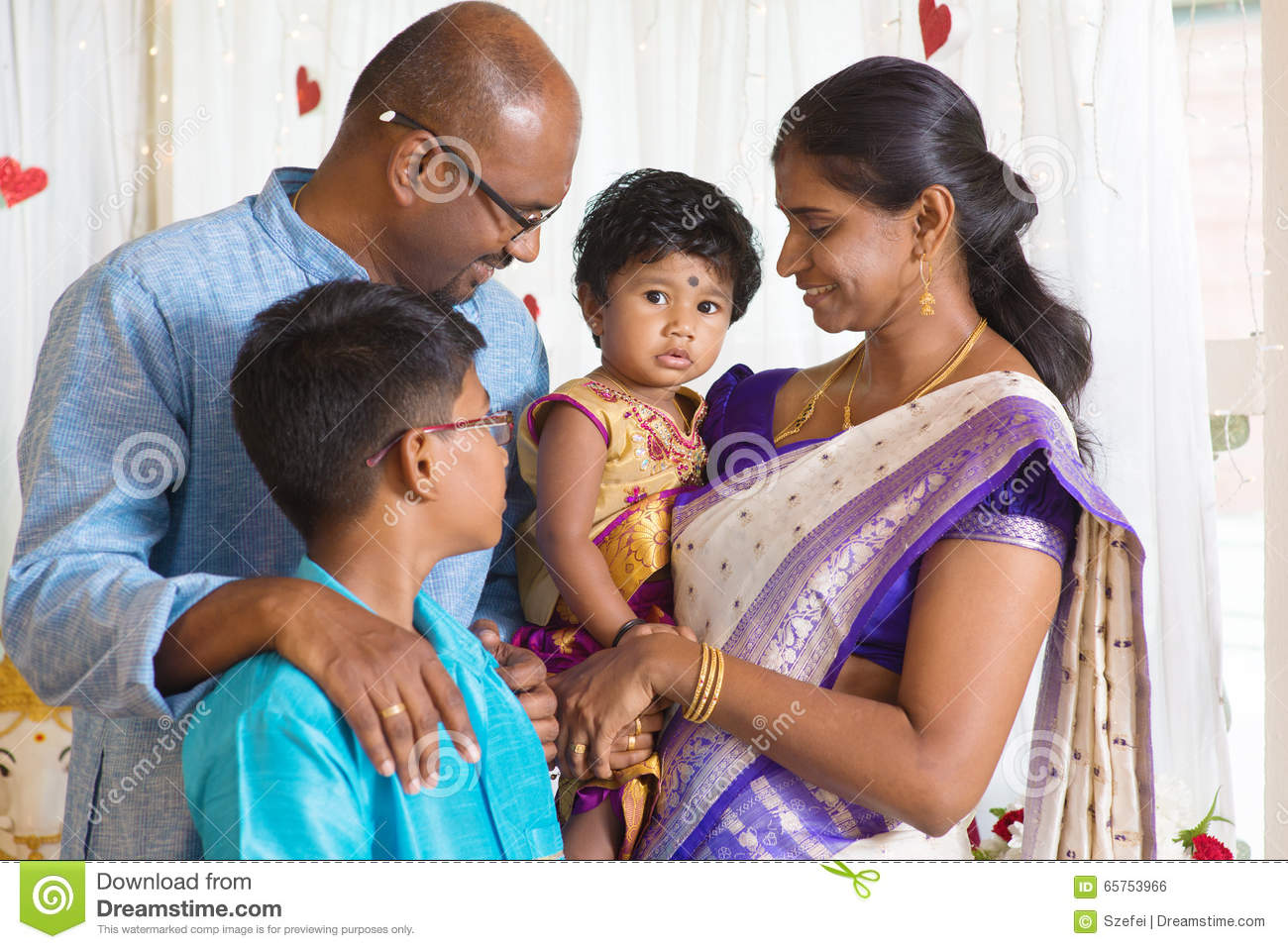 Traditional Indian family portrait.