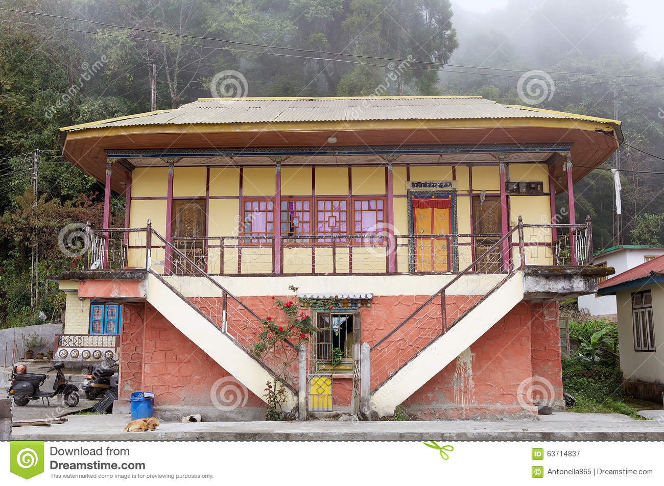 Traditional Indian House Sikkim India Editorial