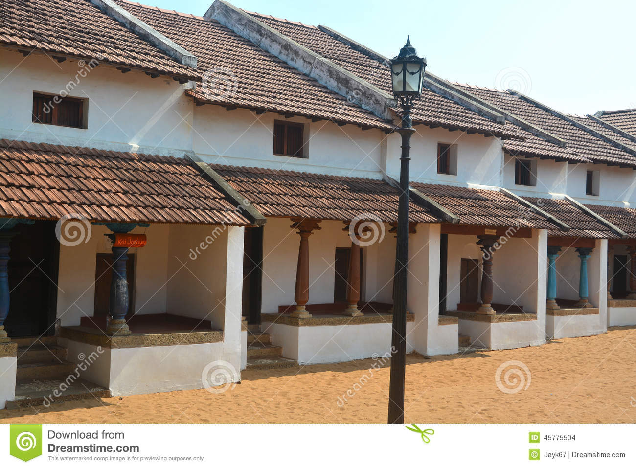 Traditional indian house stock photo image of street for Indian traditional house plans