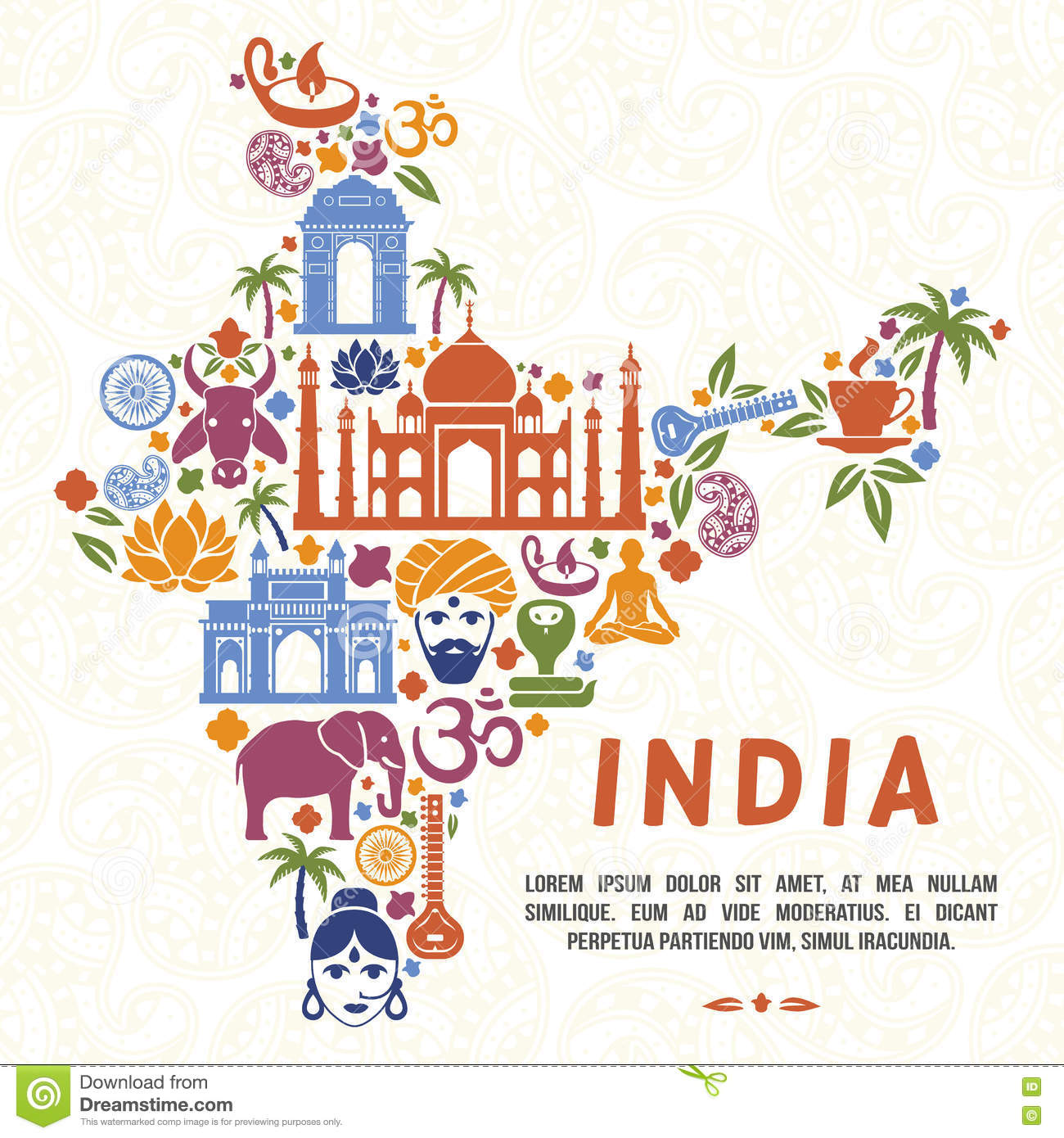 Traditional indian symbols in the form of india map stock vector traditional indian symbols in the form of india map buycottarizona Gallery