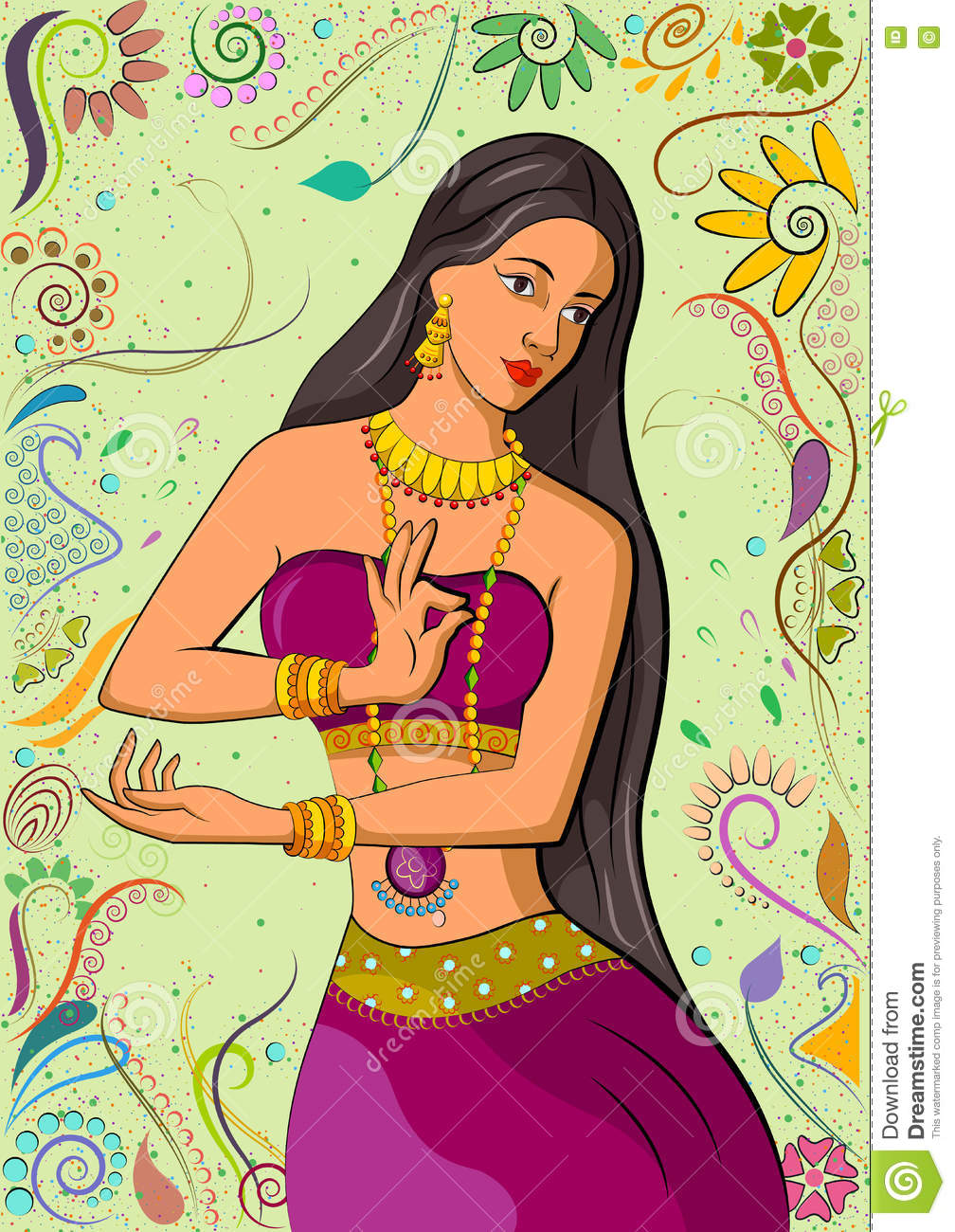 Download comp  sc 1 st  Dreamstime.com & Traditional Indian Woman In Dancing Pose Stock Vector - Illustration ...