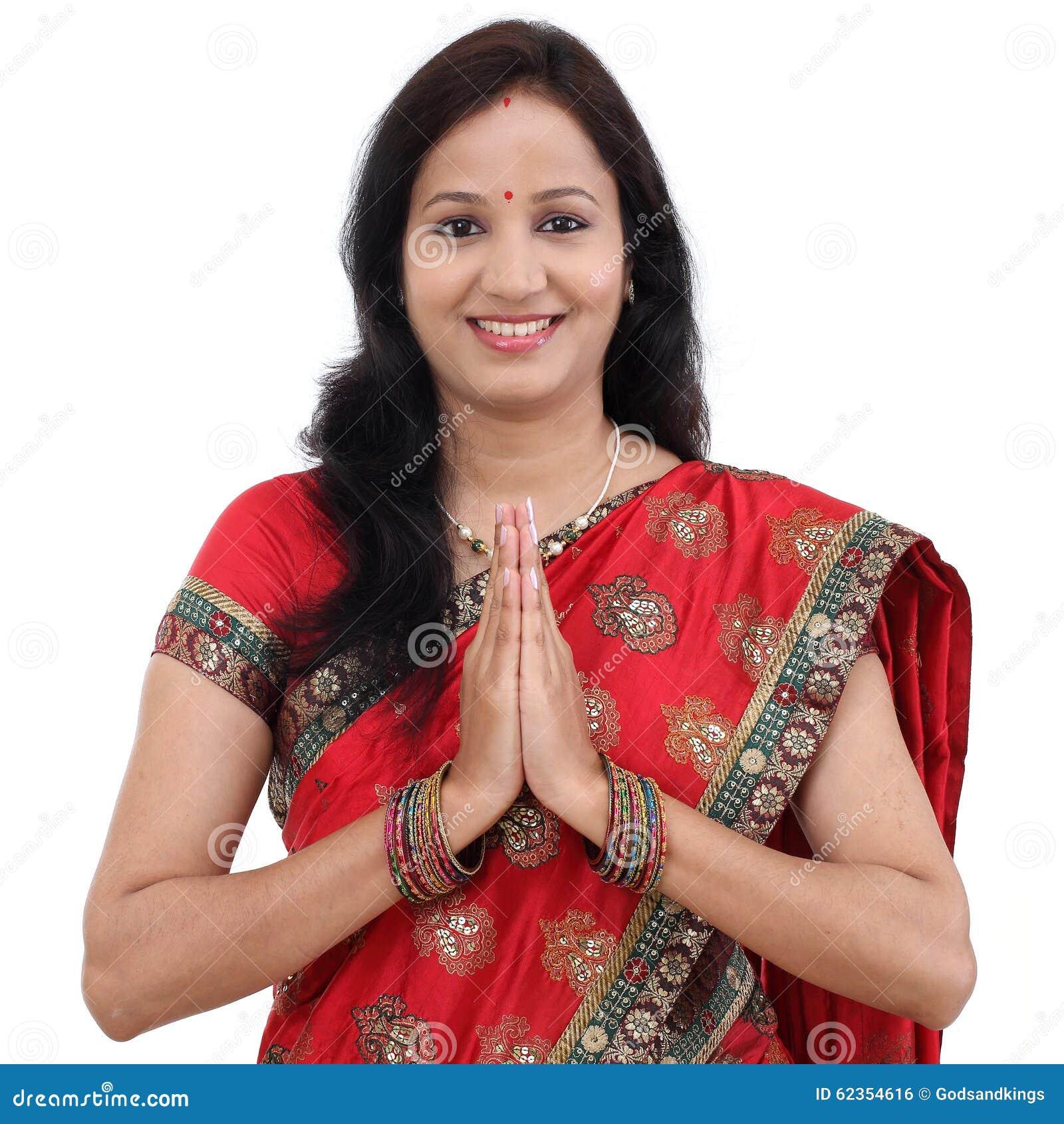 Traditional Indian Woman Woman Greeting Namaste Stock Photo Image