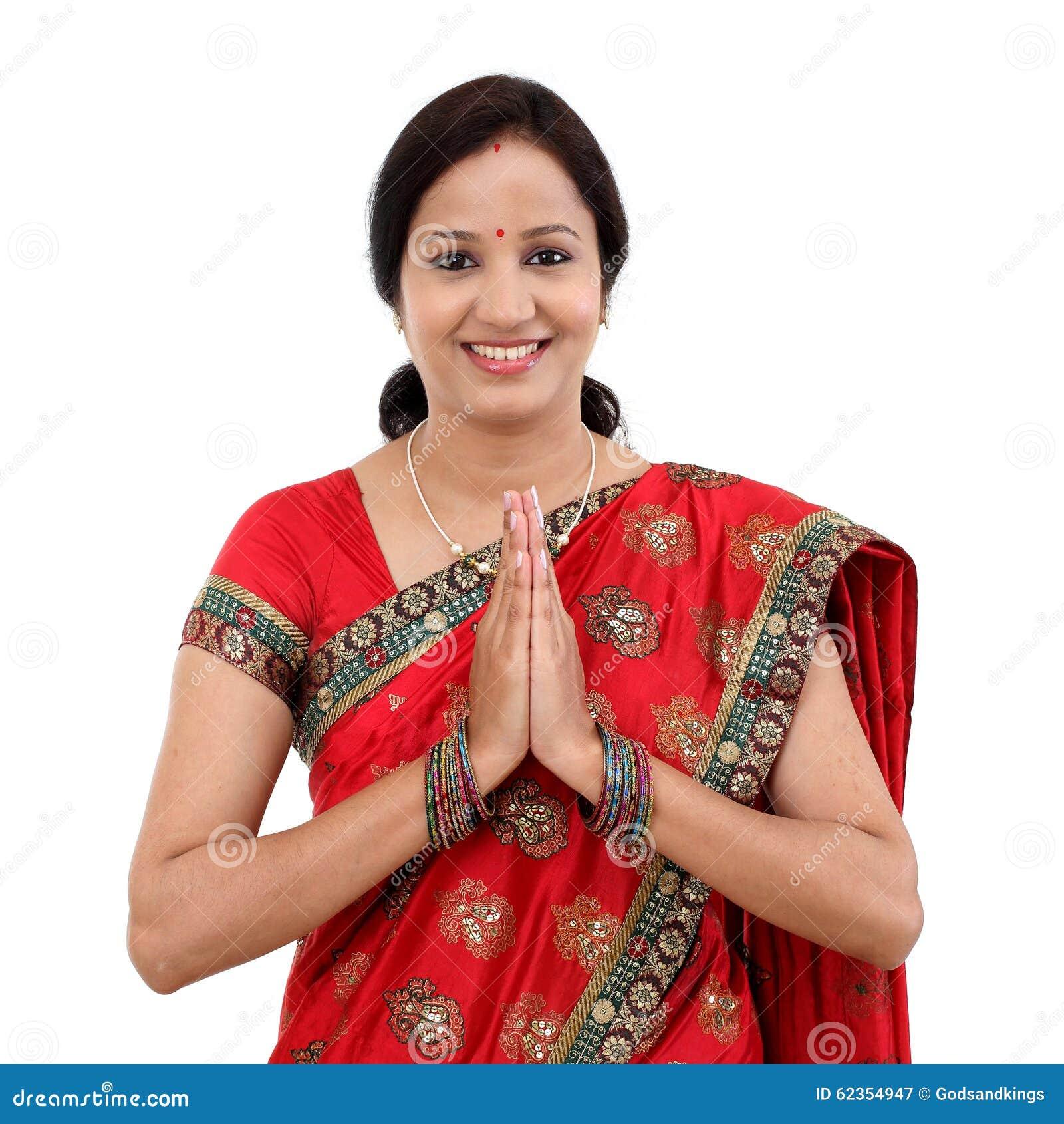 Namastegreeting Stock Image Image Of Happy Female 19040559