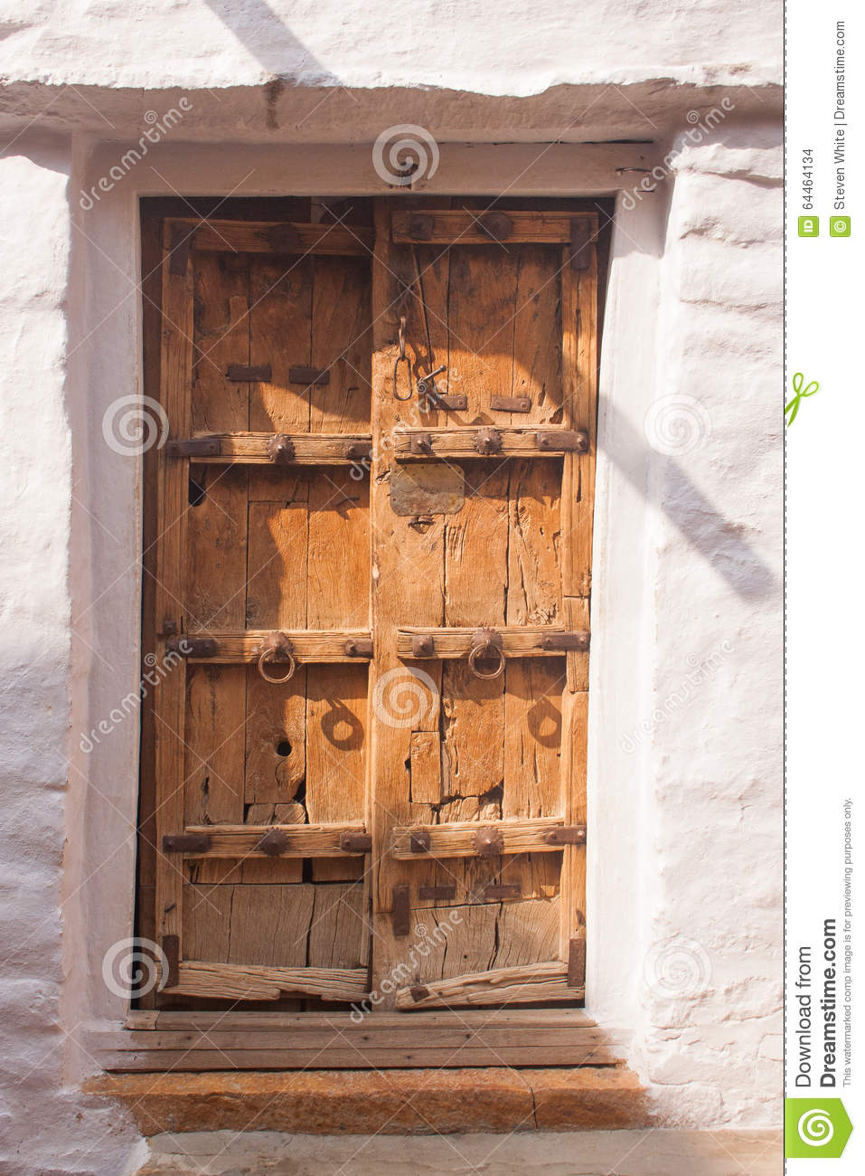 Traditional Indian Wooden Door With White Surround Stock Photo Image Of Ancient Archway 64464134