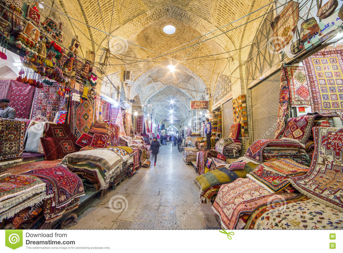 Traditional Iranian Carpets Shop In Vakil Bazaar Shiraz