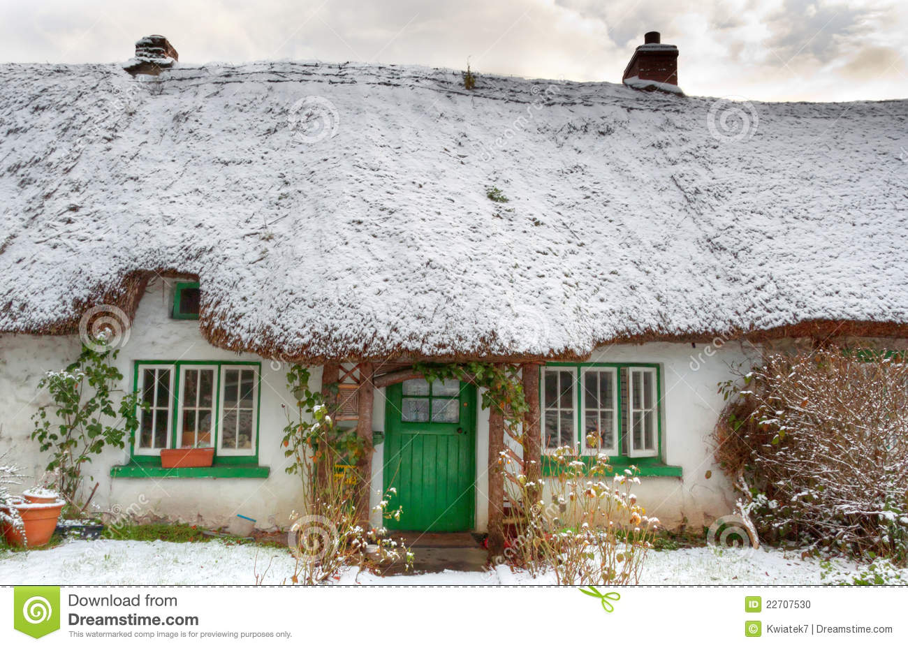 Stock Photo Traditional Irish Cottage At Winter Time