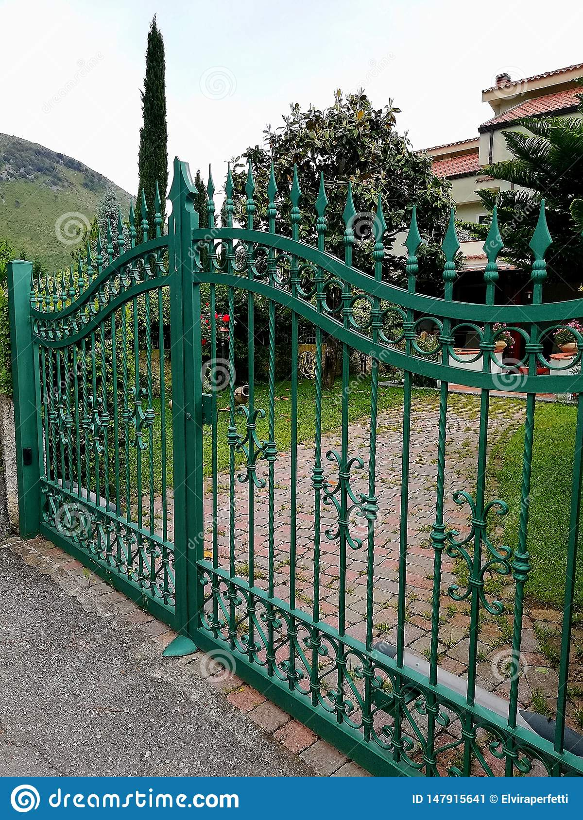 A traditional iron gate of a house entrance