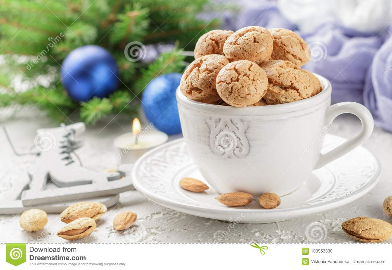Traditional Italian Almond Cookies - Amaretti Stock Photo - Image of ...