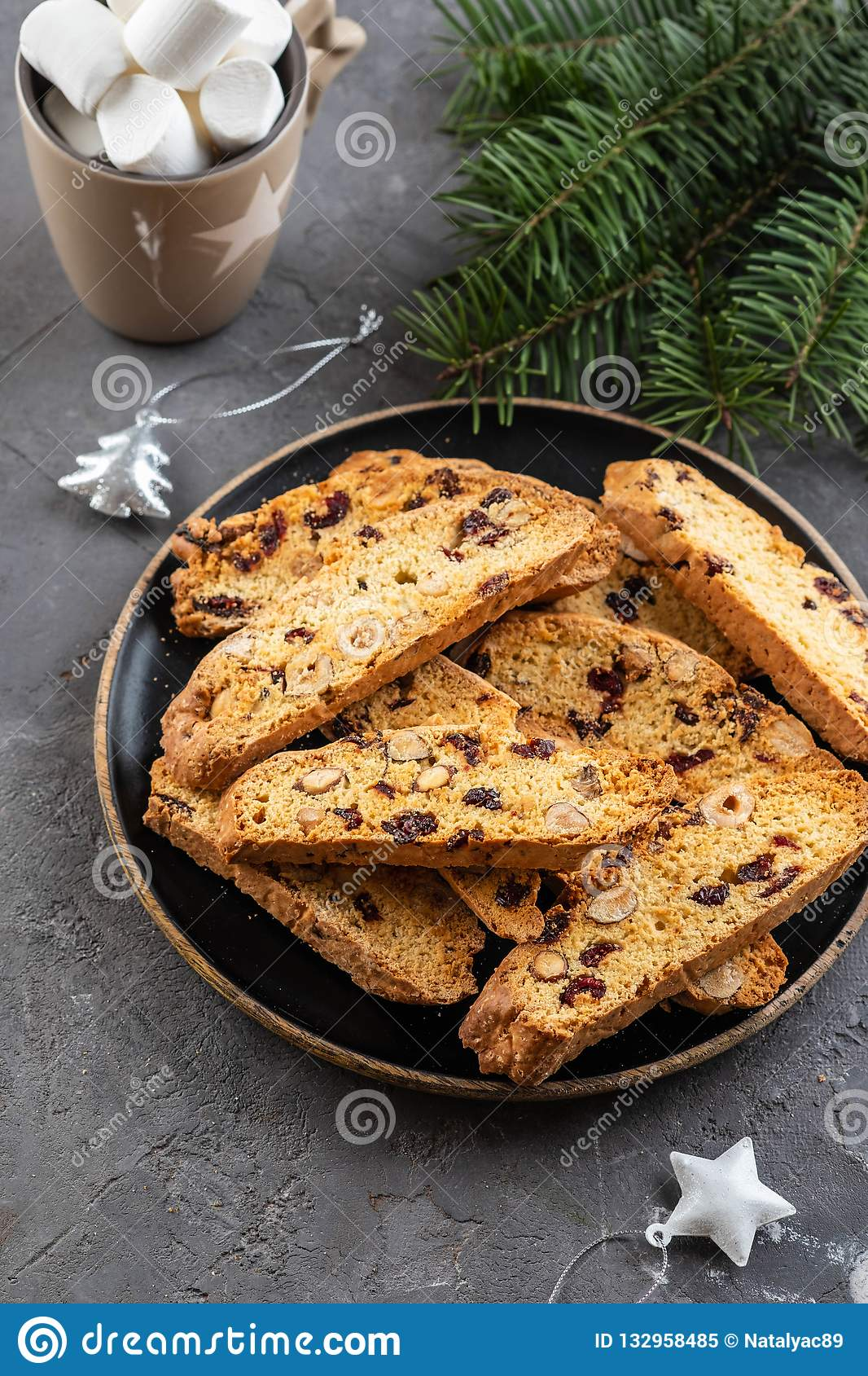 Traditional Italian Cookies Biscotti With Dried Cranberry And Nuts