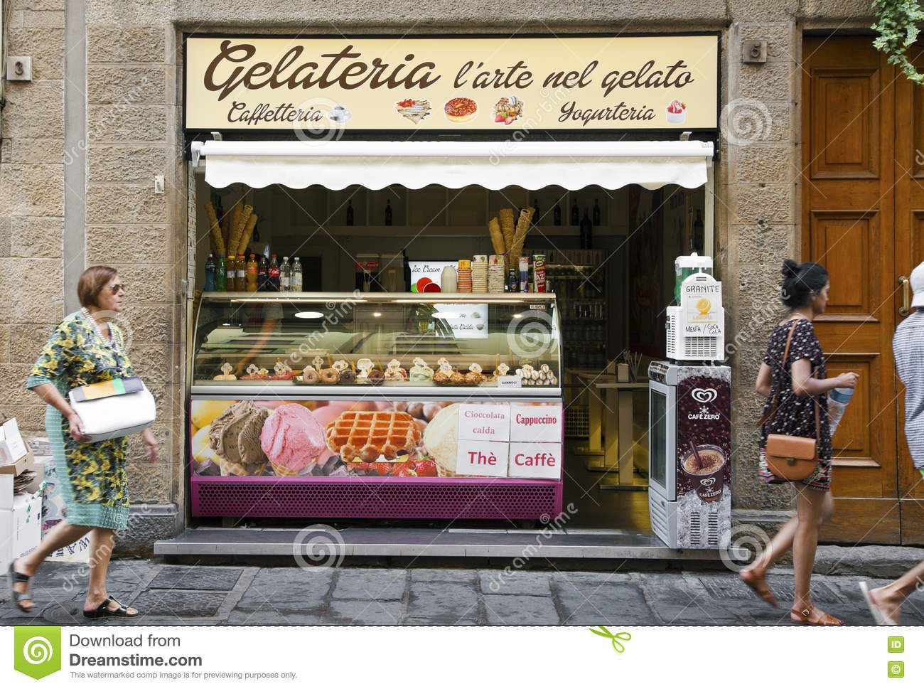 Traditional italian gelateria editorial stock photo for Dream store firenze