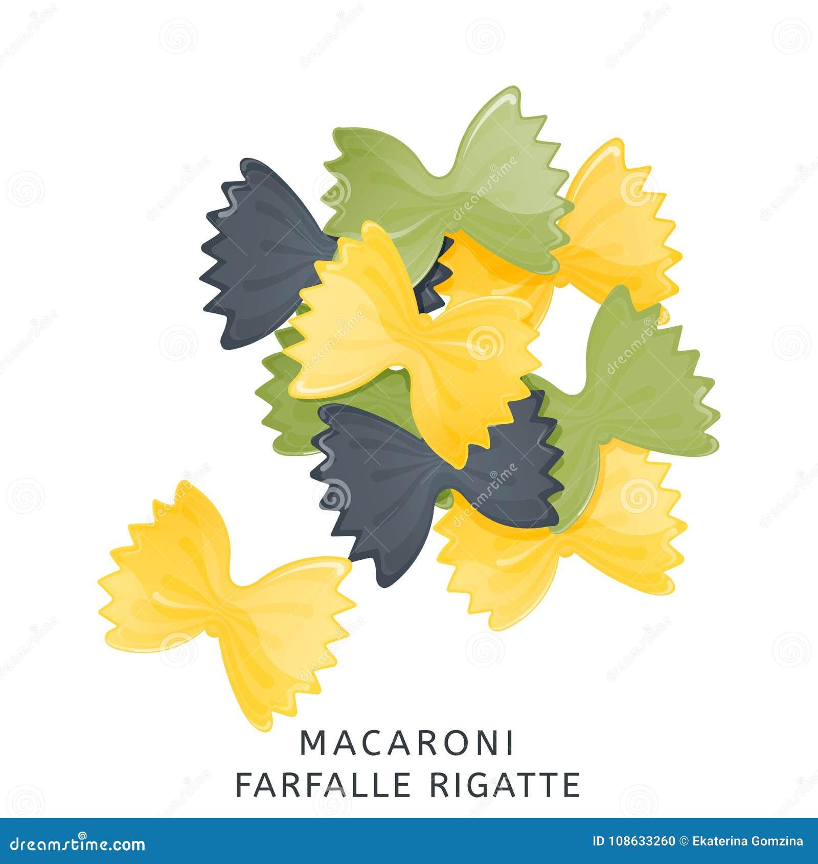 Traditional Italian Kitchen. Macaroni Colored Farfalle