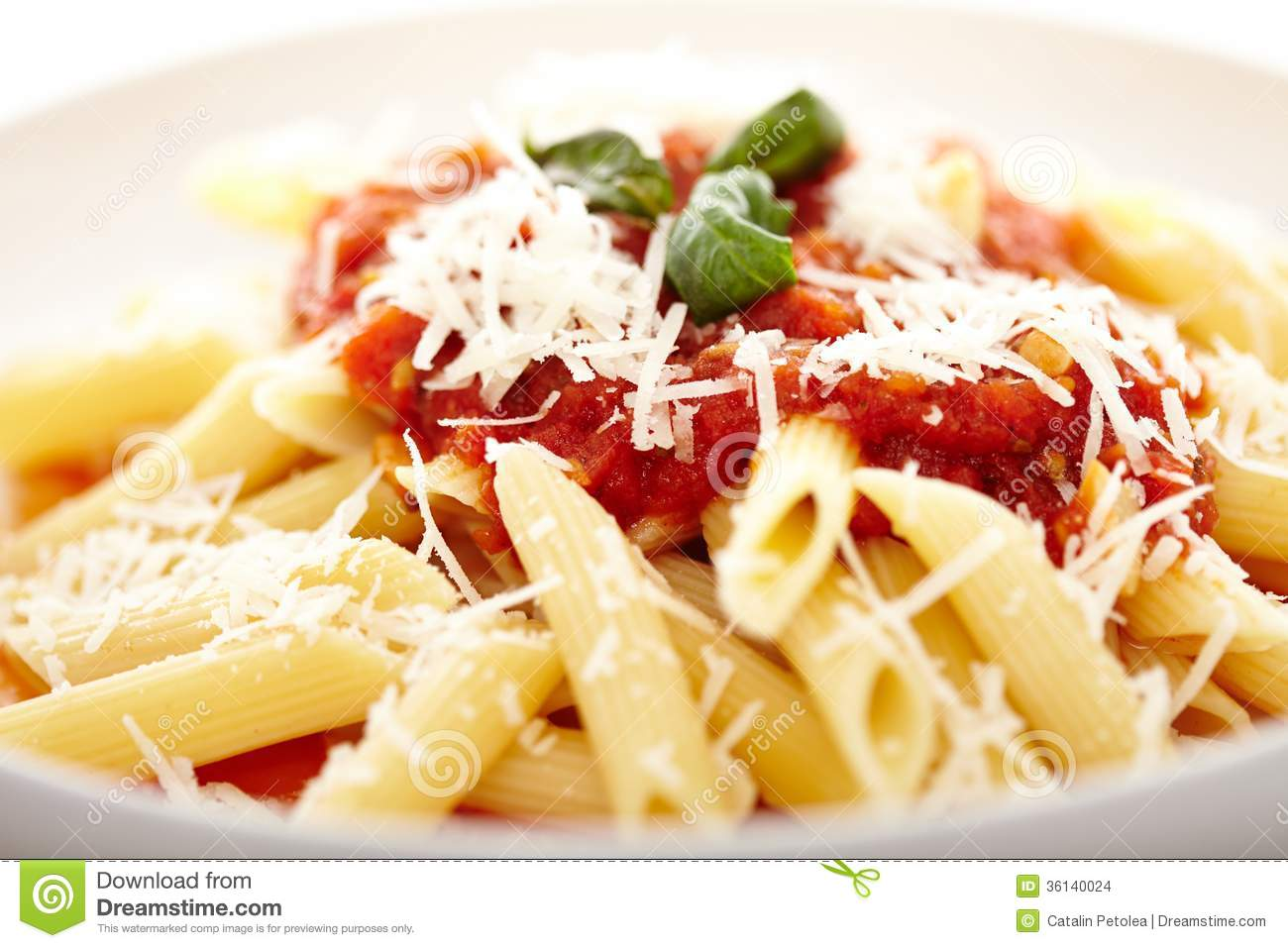 Traditional Italian Pasta With Tomato And Pepperoni Sauce Decora Stock ...