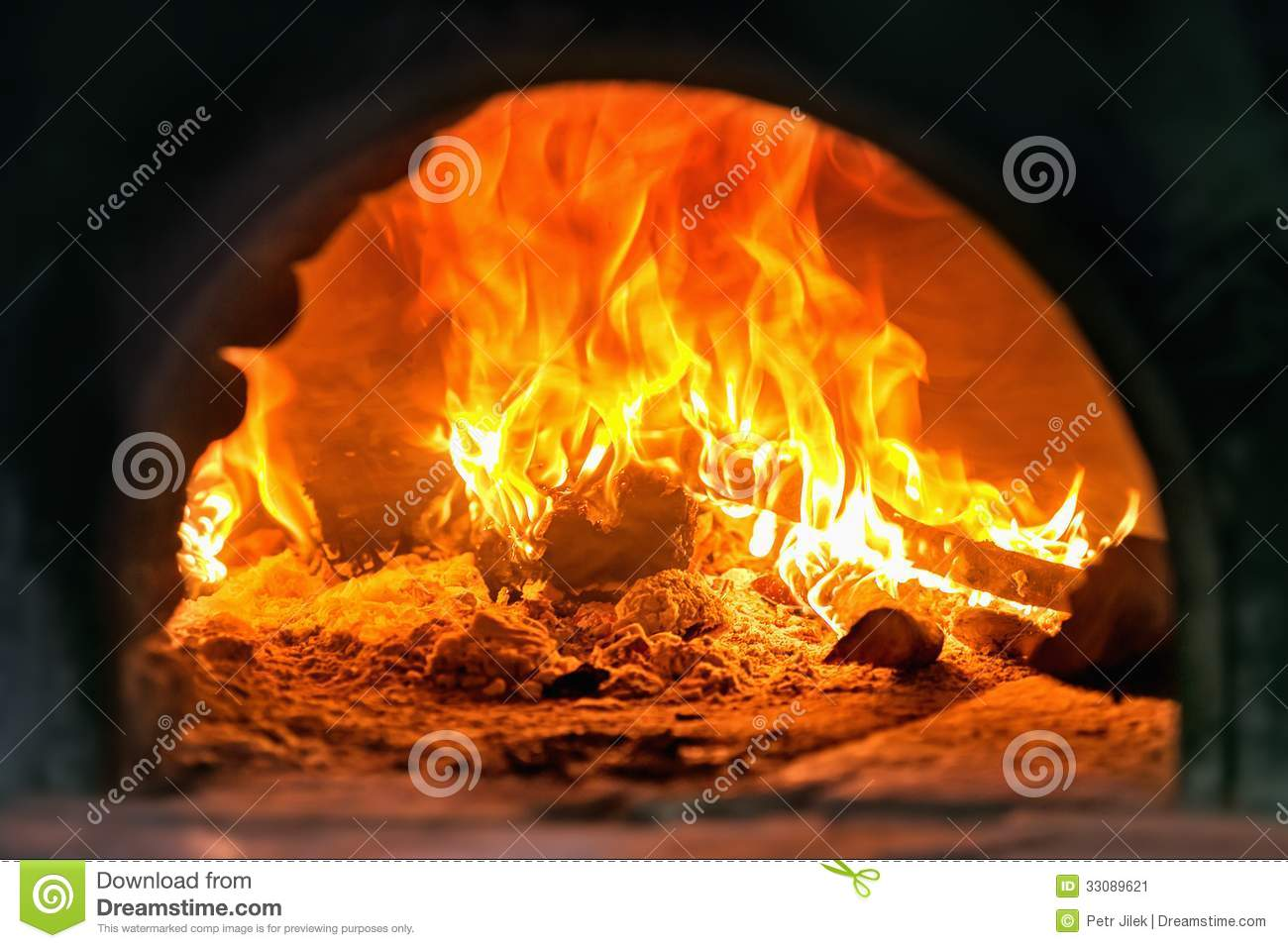 Traditional Italian Pizza Wood Oven Fire Detail Stock