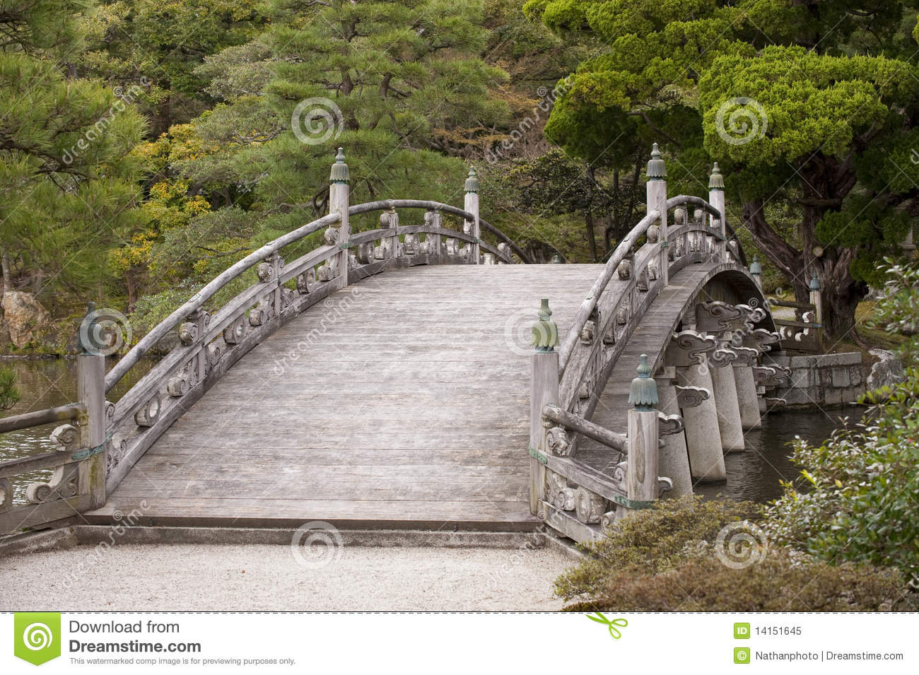 Traditional Japanese Arched Bridge Royalty Free Stock