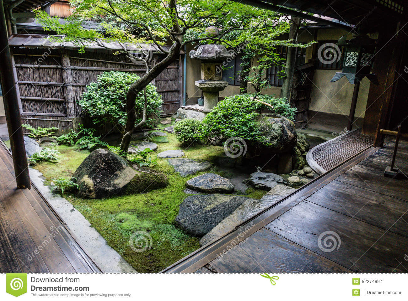 Traditional Japanese Courtyard Garden Stock Photo Image