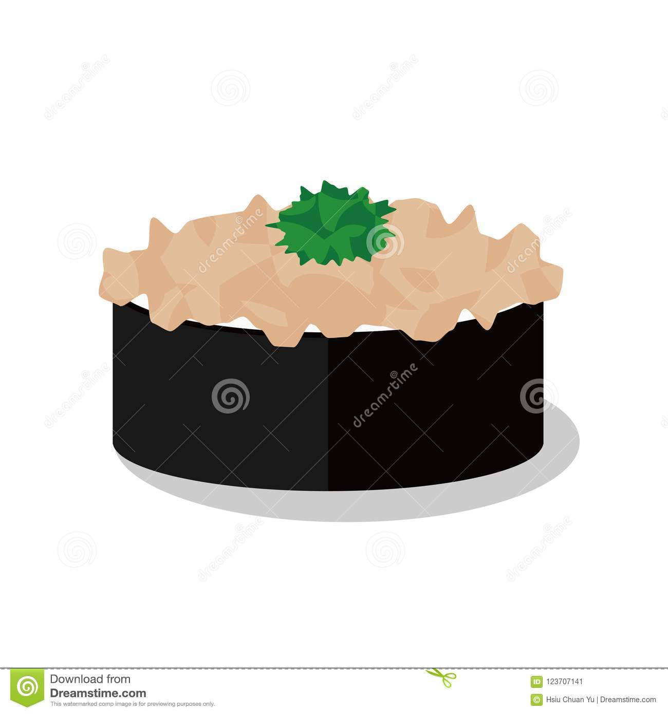A Isolated Vector Japanese Sushi Stock Vector Illustration