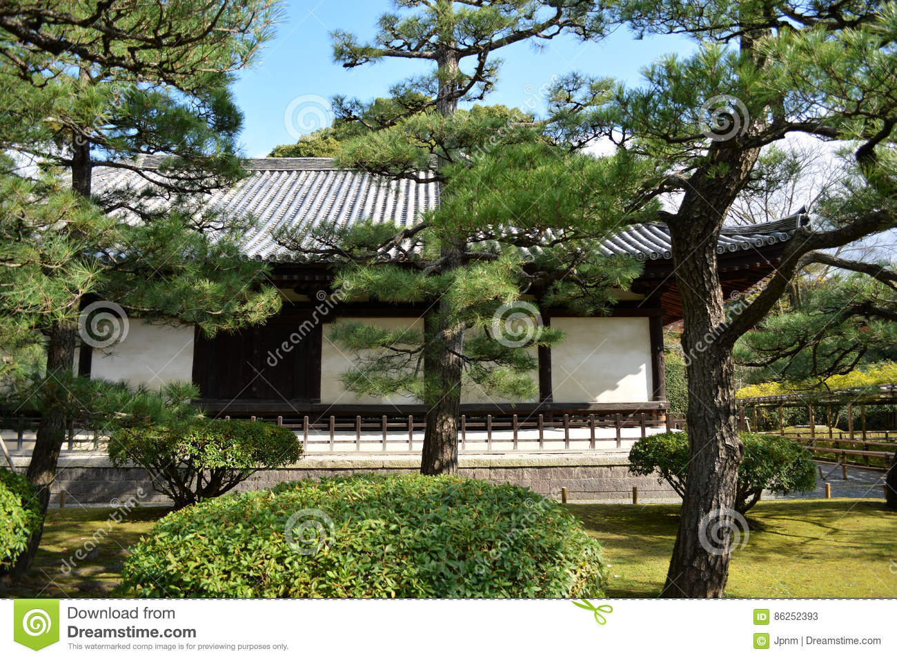 Traditional Japanese Garden And Building Stock Photo