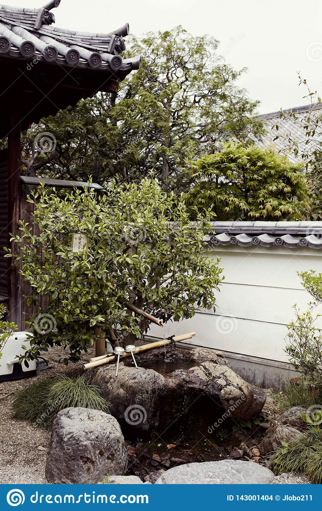 Traditional Japanese garden in the Byodoin Complex