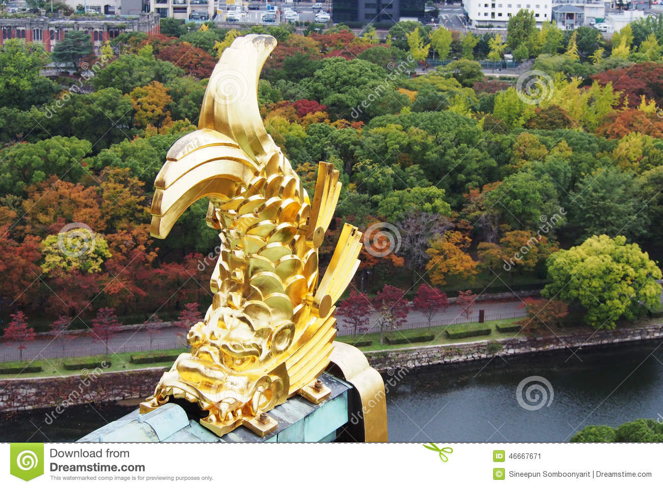 Traditional japanese gardens - Traditional Japanese Gold Monster Sculpture Stock Image