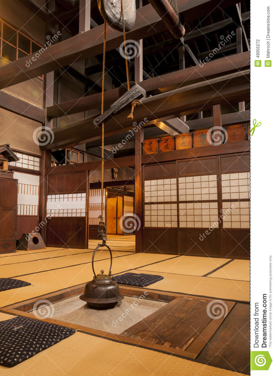 traditional japanese home interior with hanging tea pot stock