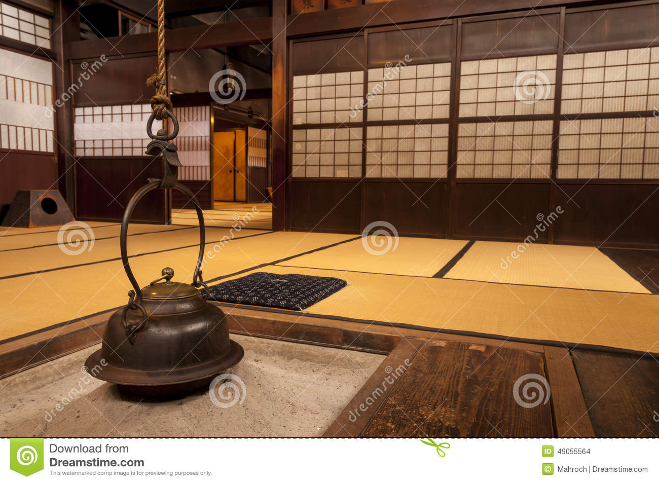 Traditional japanese home interior - Traditional Japanese Home Interior With Hanging Tea Pot