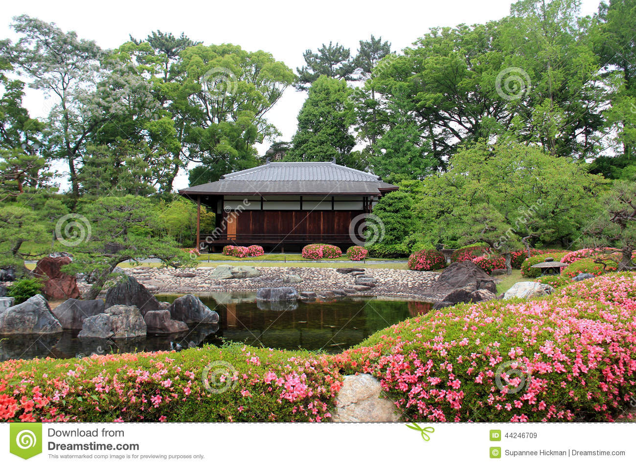 Traditional japanese house and garden stock photo image for Traditional japanese garden