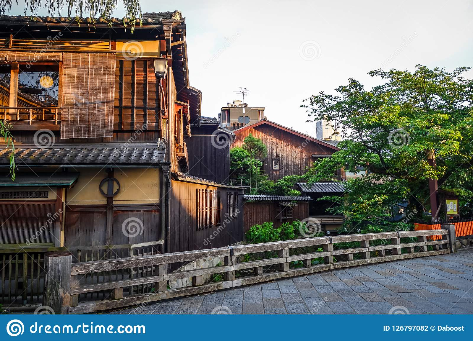 Traditional japanese houses on Shirakawa river, Gion district, K
