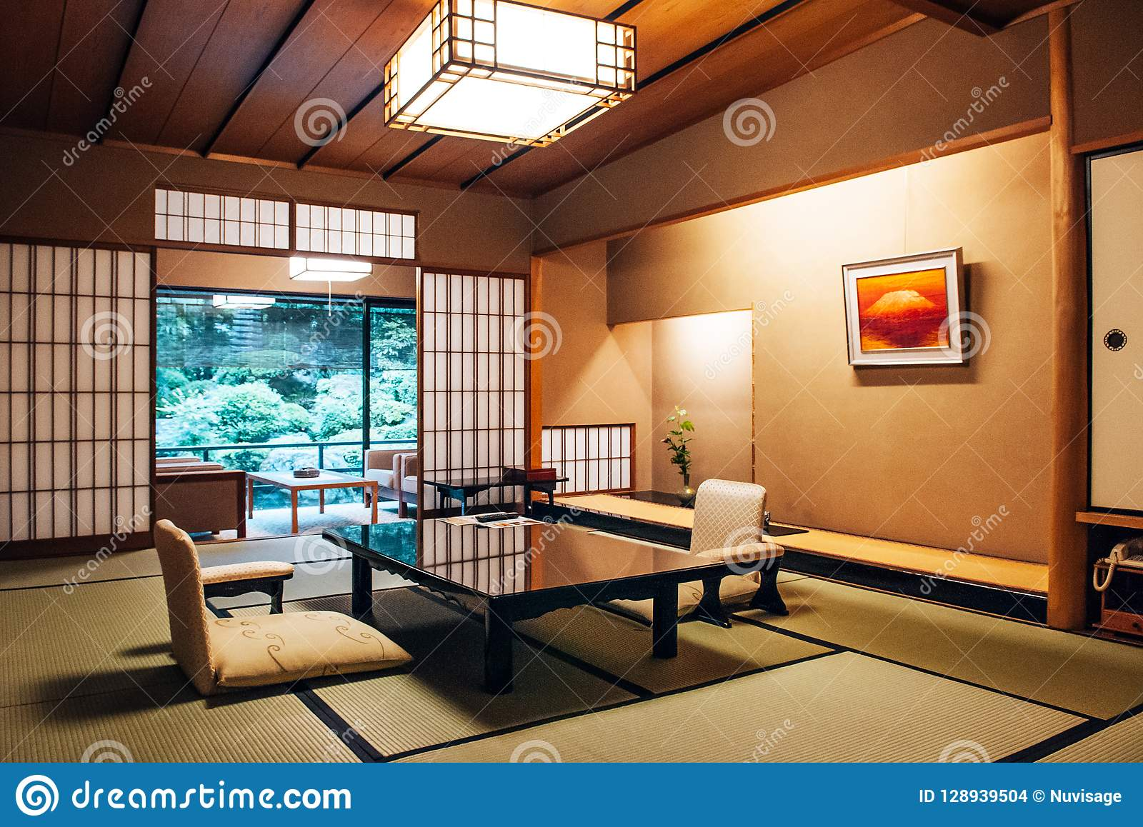 Traditional Japanese Living Room Tatami Mat Floor Wood Table And Editorial Stock Image Image Of Resort Architecture 128939504
