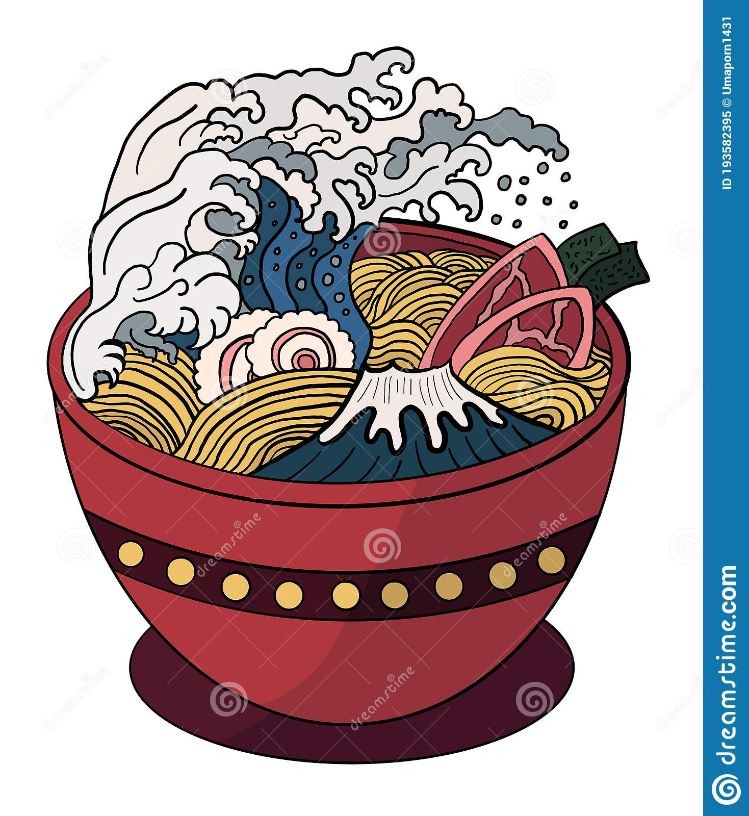 Ramen Vector Illustration For Doodle Art Stock Vector Illustration Of Japanese Cooking 193582395