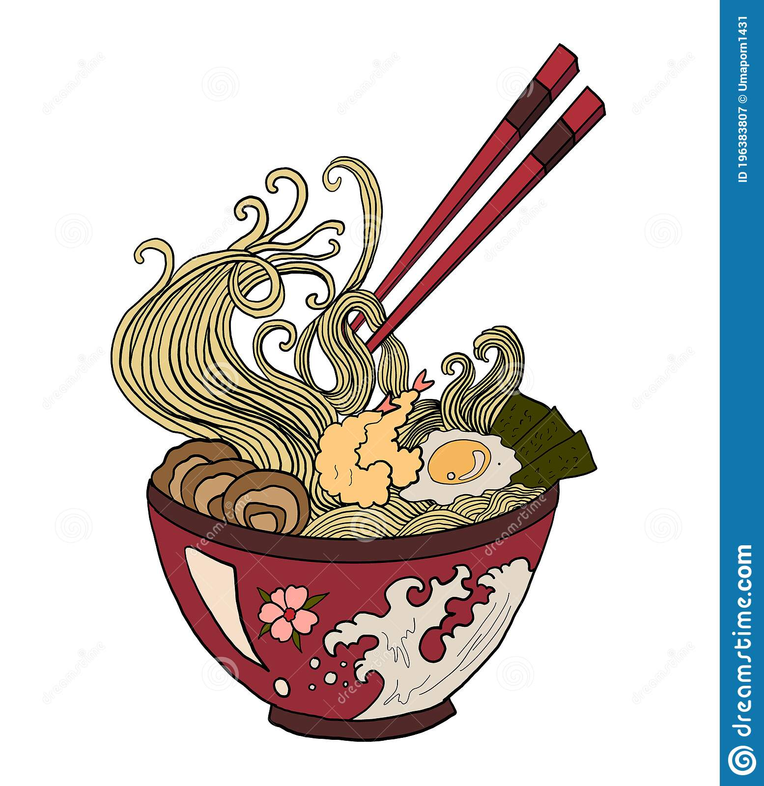 Ramen Vector Illustration For Doodle Art Stock Vector Illustration Of Noodle Graphic 196383807