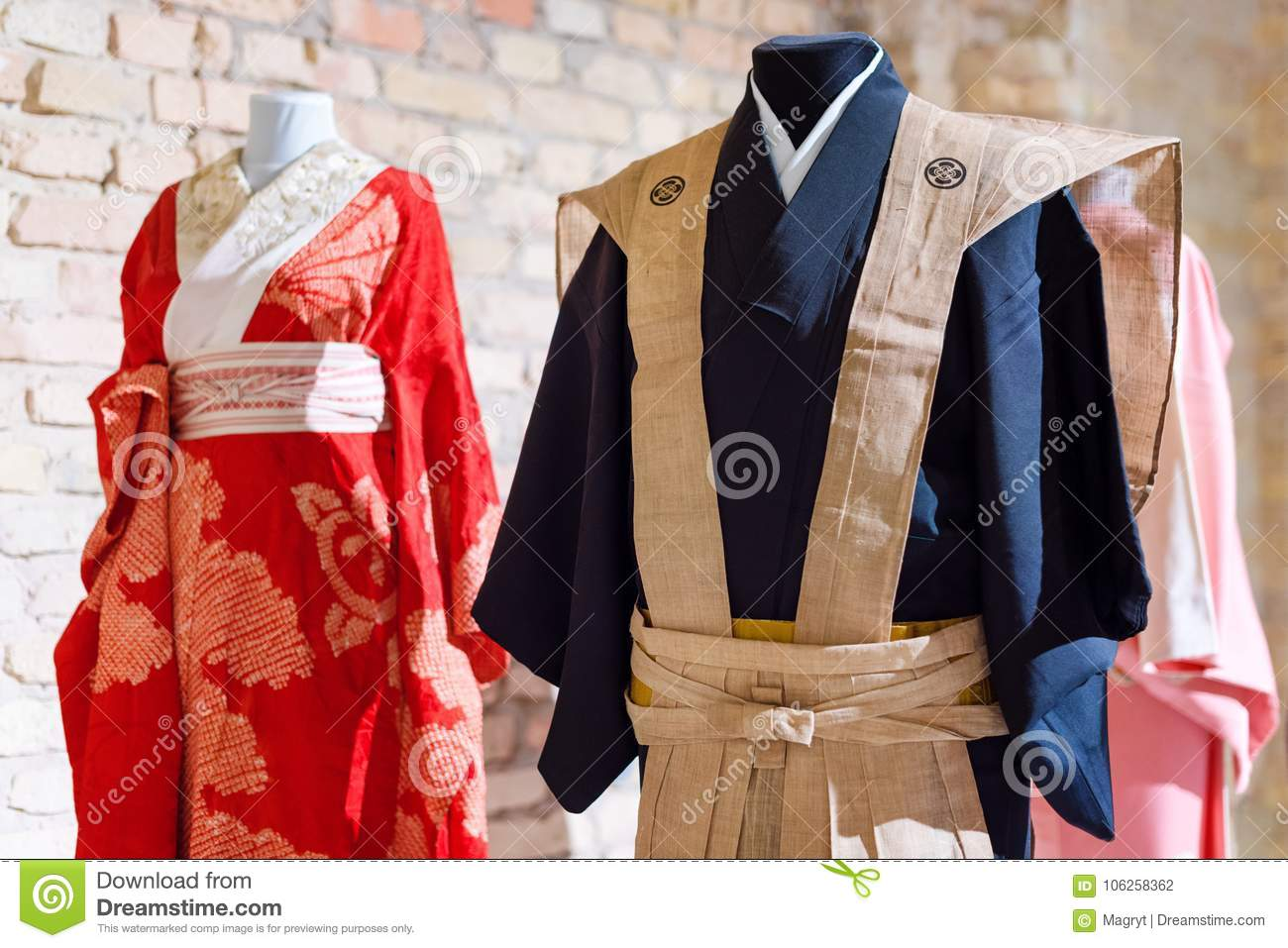 Traditional Japanese Samurai Dress Kimono Costumes For Man And Woman On Mannequins Stock Photo Image Of Japan Female 106258362