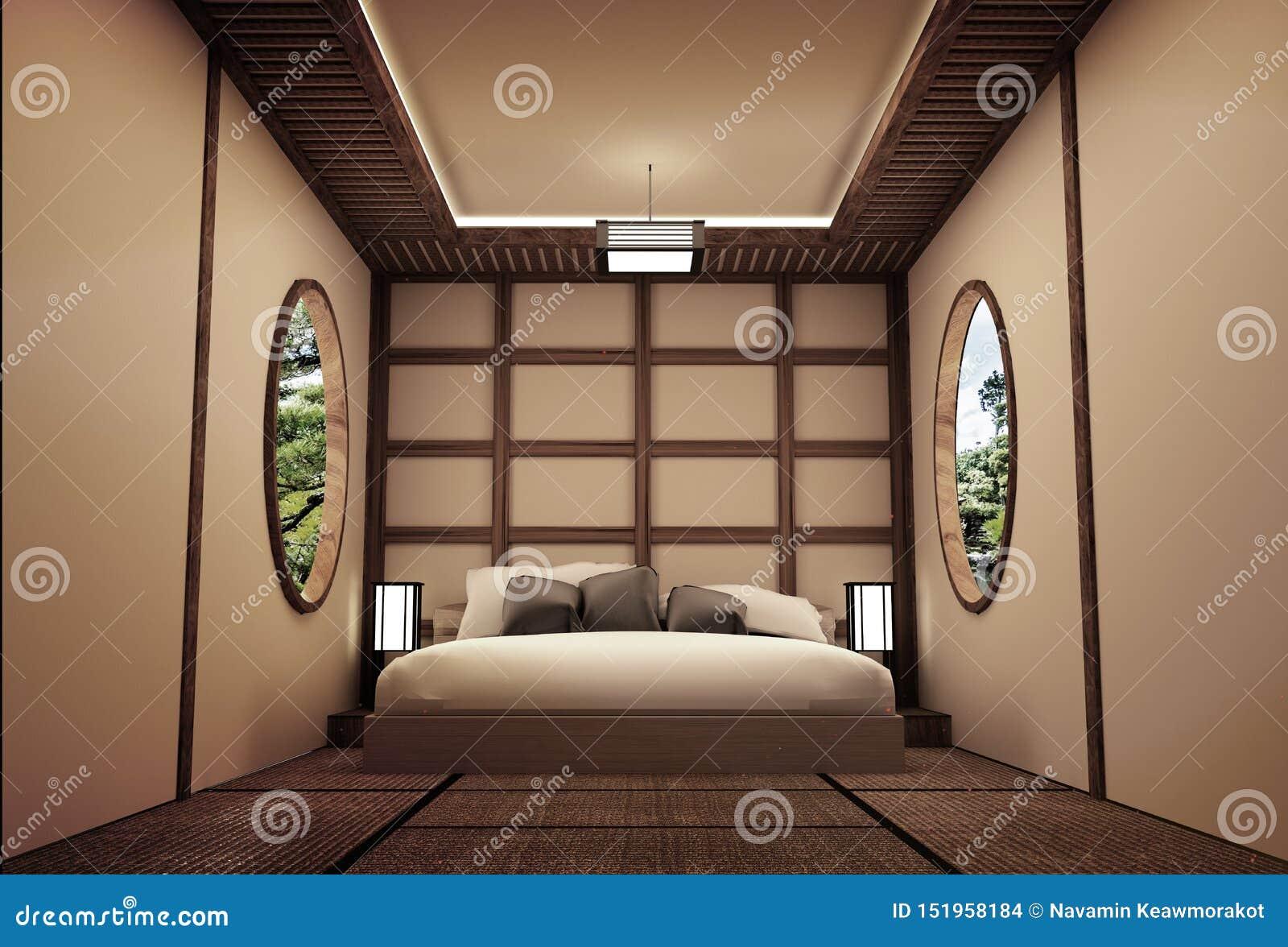 Traditional Japanese Style Bedroom Interior Design 3d Rendering Stock Illustration Illustration Of Home Japan 151958184