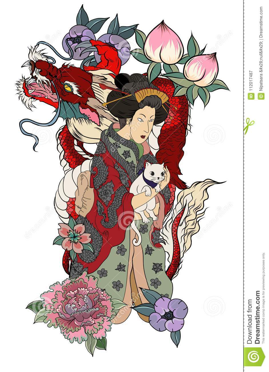 Traditional Japanese Tattoo Design For Back Body Japanese Women In