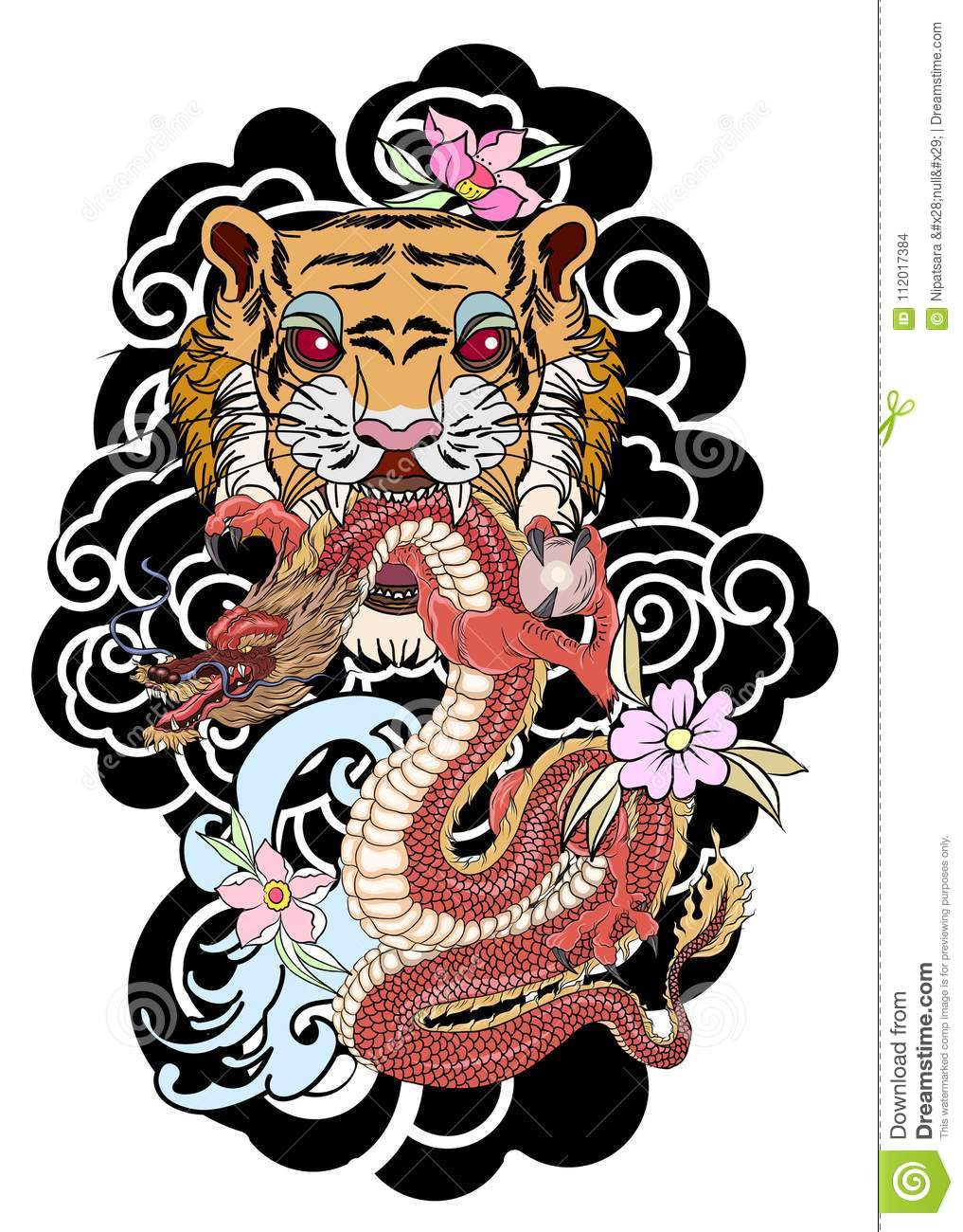 Traditional Japanese Tattoo Design For Back Body Tiger Face With Old