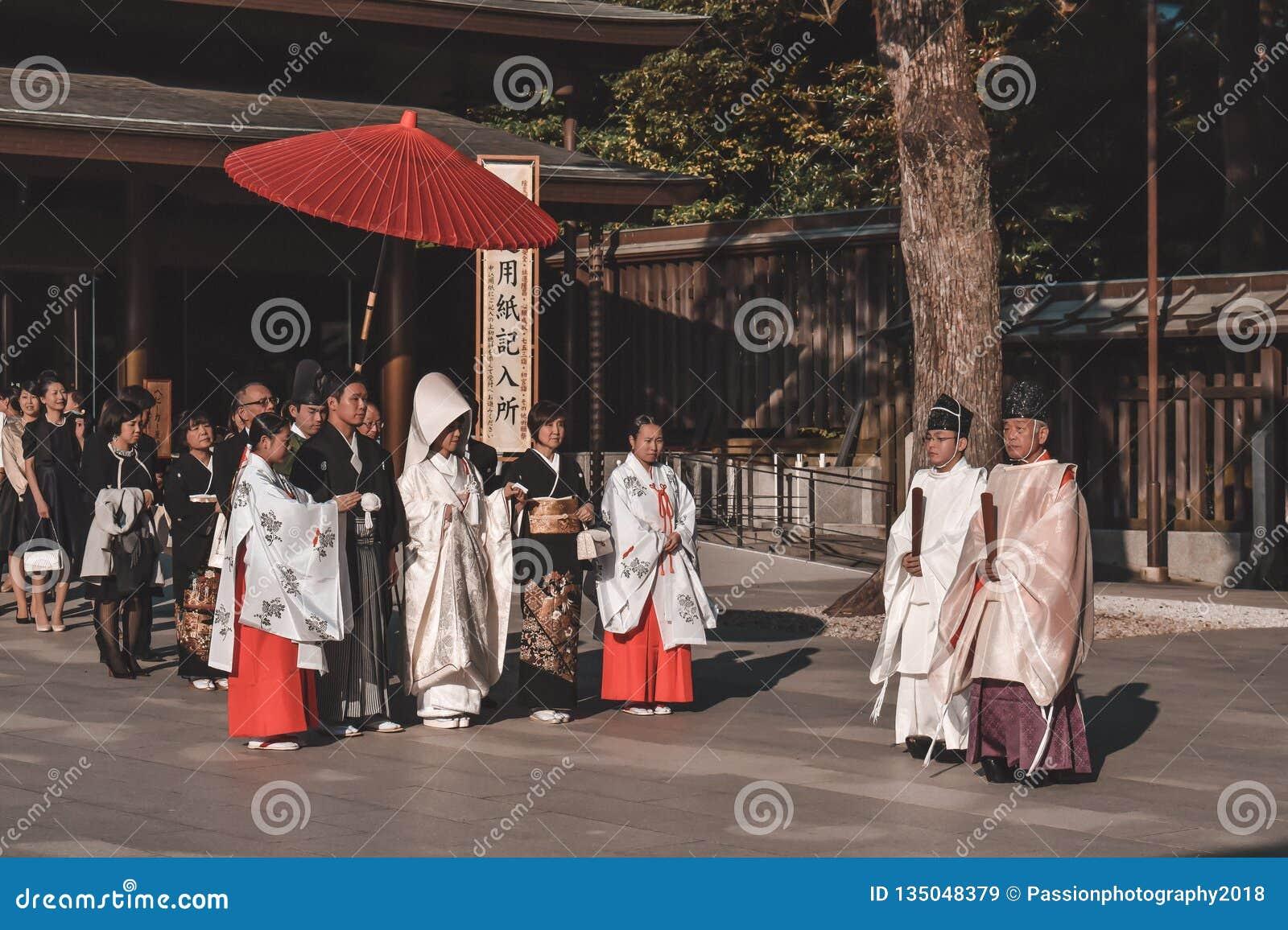 Japanese Wedding Traditions.Traditional Japanese Wedding Ceremony In Kimonos Editorial Stock
