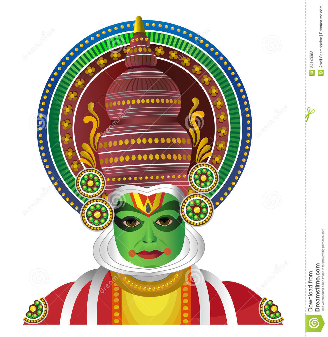 Traditional Kathkali Dancer From South India Stock Vector